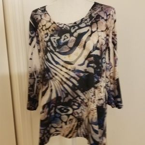 Chico's printed scoop neck top with added bling
